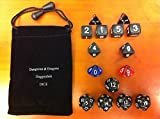 ET Pack of 15Pcs/set Random Polyhedral Dice in Assorted Colors Toy Game -4 Side,6 Sides,8 Sides,10 Sides,12 Sides,20 Sided Dice Mix