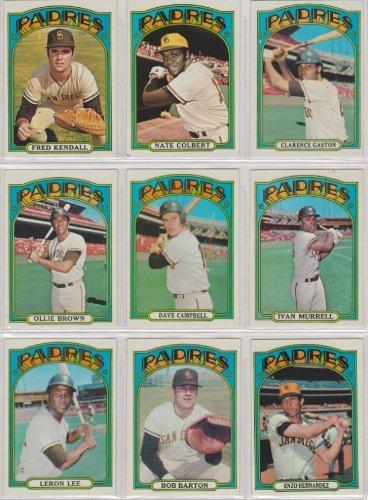 San Diego Padres 1972 Topps Baseball Team Set (Dave Campbell) (Clerance Gaston) (Darrel Thomas Rookie) (Mike Ivie Rookie) (Ollie Brown) (Nate Colbert) (Ivan Murrell) (Leron (1972 San Diego Padres)