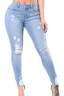 Yacun Skinny Jeans Slim Femme Taille Haute Crayon Pantalon Denim ... c571202d897e