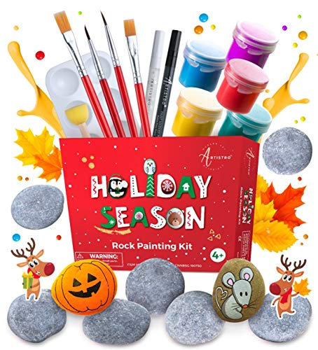 Rock Painting Kit Art Set - Rock Painting Supplies with 10 Smooth Rocks for Painting, Waterproof Acrylic Paint, Rock Art Supplies for Kids Crafts & Adult Craft Kit for Hide and Seek or Kindness Rocks