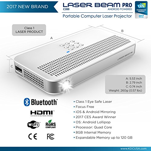 "Laser Beam Pro C200, FDA Assessed Class 1 Laser projector, Focus Fee 20-150"", HD 768P native resolution, 120 min rechargeable battery, compatible w/ HDMI support devices, built-in Internet, YouTube by Laser Beam Pro (Image #2)"