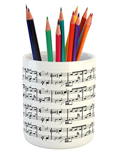 Ambesonne Music Pencil Pen Holder, Musical Notes on