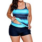 Plus Size Two-Pieces Bikini Set, Anxinke Women Gradient Color Padded Tank Top with Bottoms Tankini Swimsuits (2XL, Blue)