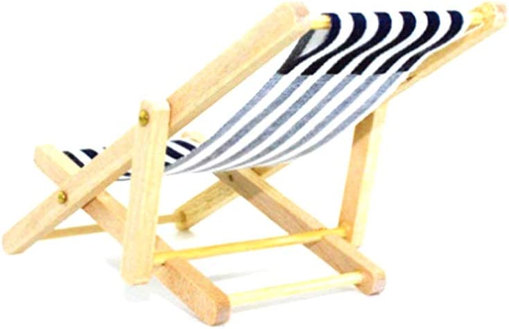 Dollhouse Decorations, Mini Miniature Dollhouse Foldable Wooden Beach Chair Mini Chaise Longue Toys with Stripe Dollhouse House Outdoor Furniture Accessories Random Color