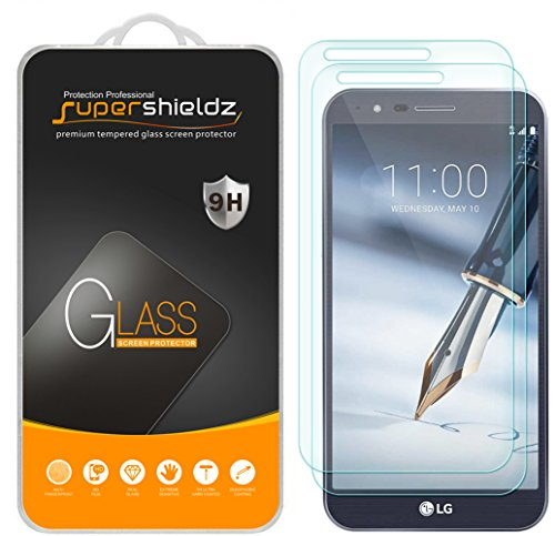 [2-Pack] Supershieldz for LG Stylo 3 Plus Tempered Glass Screen Protector, Anti-Scratch, Anti-Fingerprint, Bubble Free, Lifetime Replacement Warranty