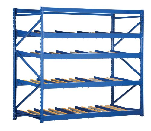Vestil FLOW-3-4 Carton Flow Rack with Gravity Fed Rollers, 4 Flow Levels, 84