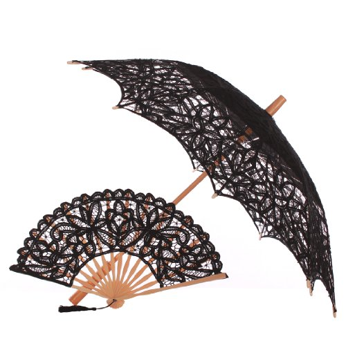 Topwedding Lace Embroidery Handmade Wedding Parasol Umbrella & Fan for Wedding, Black