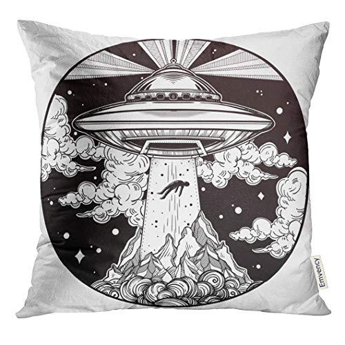 Emvency Throw Pillow Cover Extraterrestrial Alien Spaceship UFO with Flying Saucer Abducting Human Conspiracy Theory Tattoo Invasion Decorative Pillow Case Home Decor Square 18x18 Inches ()