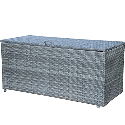 Storage Bin Deck Box PE Wicker Outdoor Patio Cushion Container Garden Furniture, Grey - Patio Furniture Wheels