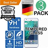 Google Pixel XL [5.5] 3Pack [9H+ Ballistic] HD [Tempered Glass] Screen Protector [Bubble Free] Laser Cut [Case Friendly] Shatter Proof [Anti Scratch] High [Oleophobic] Resistant [Easy Install]