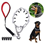 Mark deAndrew Dog Prong Collar with Quick Release Snap Buckle Adjustable Size Stainless Steel Plated Choke Pinch Training Collar for Medium and Large Dogs (Chain Collar+Leash, Black) Larger Image