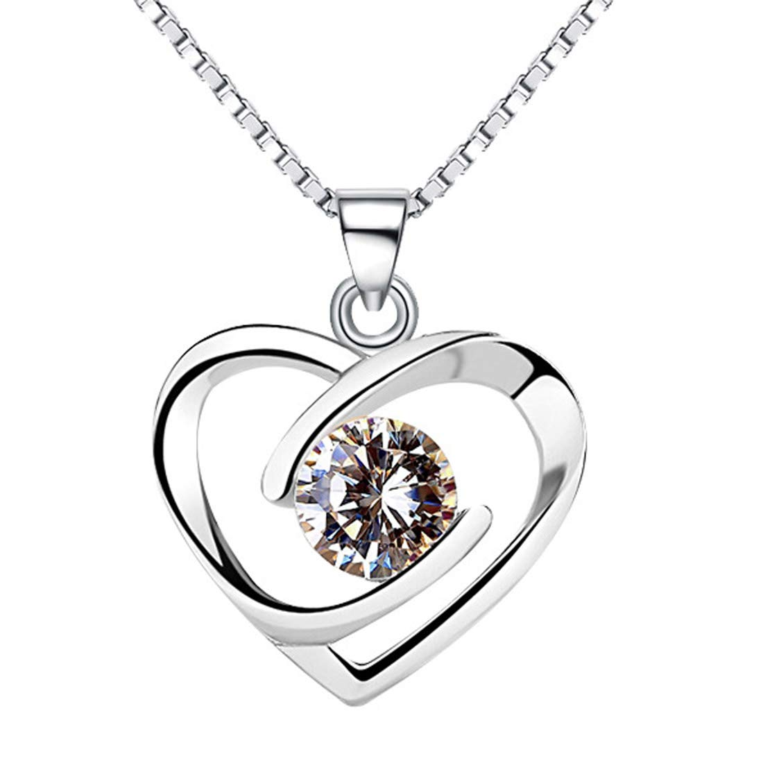 Sterling Silver You Hold My Heart Forever Cubic Zirconia Pendant Enhancer Chain Women Girls by Chaomingzhen