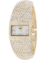 Badgley Mischka Womens BA/1154MPGB Swarovski Crystal-Covered Gold-Tone Bangle Watch
