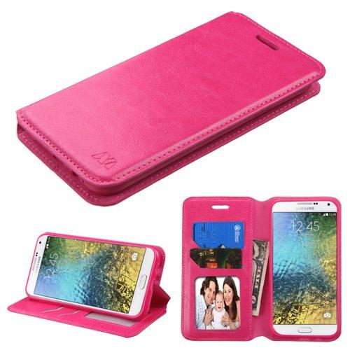 Case+Stylus PU Leather Case Fits Samsung S978L (Galaxy E5) MYBAT Hot Pink MyJacket Book-Style ()