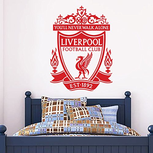 Official Liverpool Football Club - One Colour Crest Wall Decal + LFC Wall Sticker Set Print Mural Vinyl (Red, 90cm -