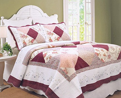 Country Christmas Quilt (Cozy Line Home Fashions Floral Patchwork Burgundy Red Coral Pink Country, 100% COTTON Quilt Bedding Set, Reversible Coverlet Bedspread, Scalloped Edge ,Gifts for Women (Georgia Red, Twin - 2 piece))