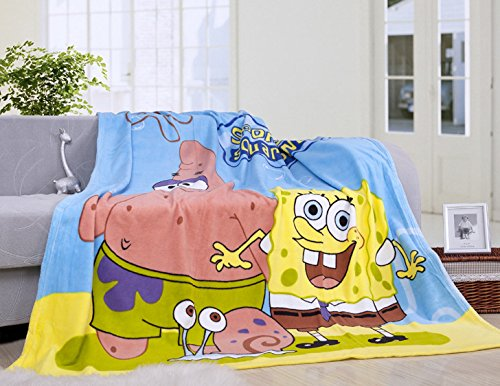 Blaze Children's Cartoon Printing Blanket Coral Fleece Blanket (28 by 40 Inch, Spongebob)