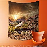 Auraisehome Vertical Version Tapestry Glenfinnan Railway Viaduct in Scotland with The Jacobite Steam Train Against Sun Over Lake Throw, Bed, Tapestry, or Yoga Blanket 54W x 72L INCH