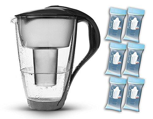 PearlCo Glas-Wasserfilter (anthrazit) - Halbjahres-Paket inkl. 6 classic Filterkartuschen (kompatibel mit Brita® classic)