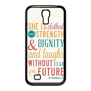 diycover Samsung Galaxy S4 I9500 Case - Christian Theme - Bible Verse Proverbs 31:25 - Durable and lightweight Cover Case hjbrhga1544