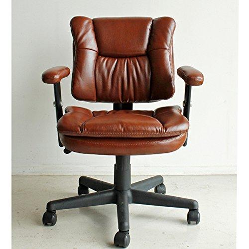 レトロな気分でデスクワーク デスクチェア / レザーチェアー オフィスチェア 合皮 肘付き キャスター付き 社長椅子 プレジデントチェア B07D4B6V2V Parent
