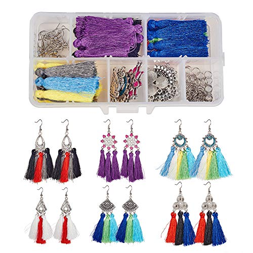 SUNNYCLUE 1 Box DIY 6 Pairs Chandelier Tassel Earrings Making Starter Kits Drop Fringe Fan Earrings Craft Project
