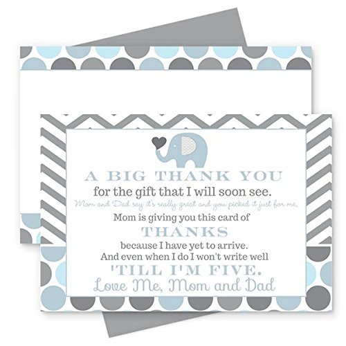 (Blue Elephant Baby Shower Thank You Postcard Set of 15 (Cards with Envelopes))