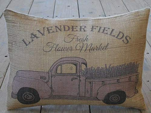 Athena Bacon Lavender Truck Burlap Pillowcase Cover Farmhouse Style Farm Shabby Chic French Country