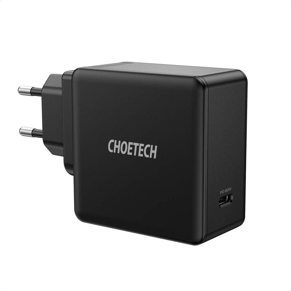 CHOETECH Cargador USB C PD 60W, Cargador Rápida, Tipo C Cargador para MacBook Pro 2020/2019/2018, Macbook Air, Lenevo Thinkpad, Dell XPS, iPad Pro, iPhone 11/11Pro/SE 2, Galaxy S20/S20+/S10/10+,Huawei