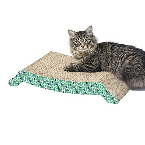 51hXZISCttL - Kitty City XL Wide Corrugate Scratchers,  Bubble Window Cat Scratcher House ,Cat Cubby, Scratcher with Catnip