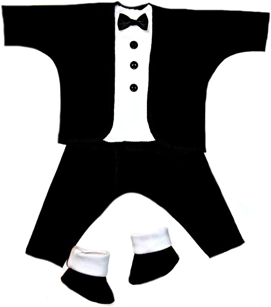 Jacqui's Baby Boys' Black and White Baby Tuxedo Suit, Preemie