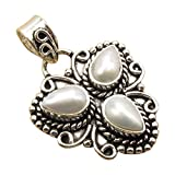 Vintage Style, 925 Sterling Silver Plated Jewelry, 3 Drop GEMSTONE Handcrafted PENDANT Made In India