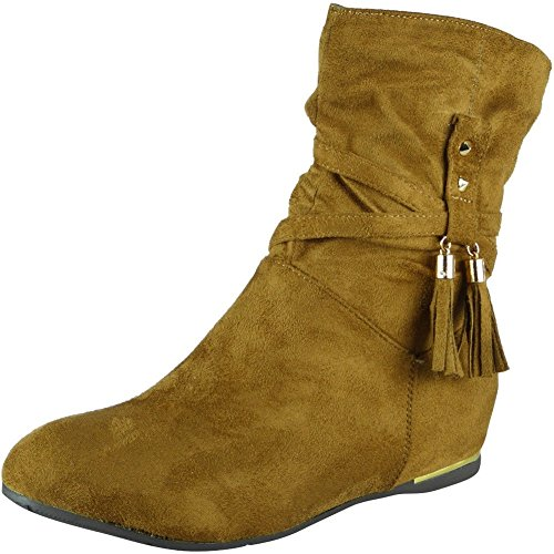 Camel Slouch Suede Ankle Faux 3 Look Wedge Loud Boots 8 Tassle Ladies Size Xw7n1xqf