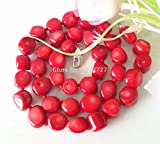 Anzona Rare Natural 8-12Mm Red Sea Coral Necklace Beads Jewellry Natural Stone 20''