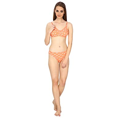 de16d82216 Fashion pier orange bra and panty set in cotton for women  Amazon.in   Clothing   Accessories