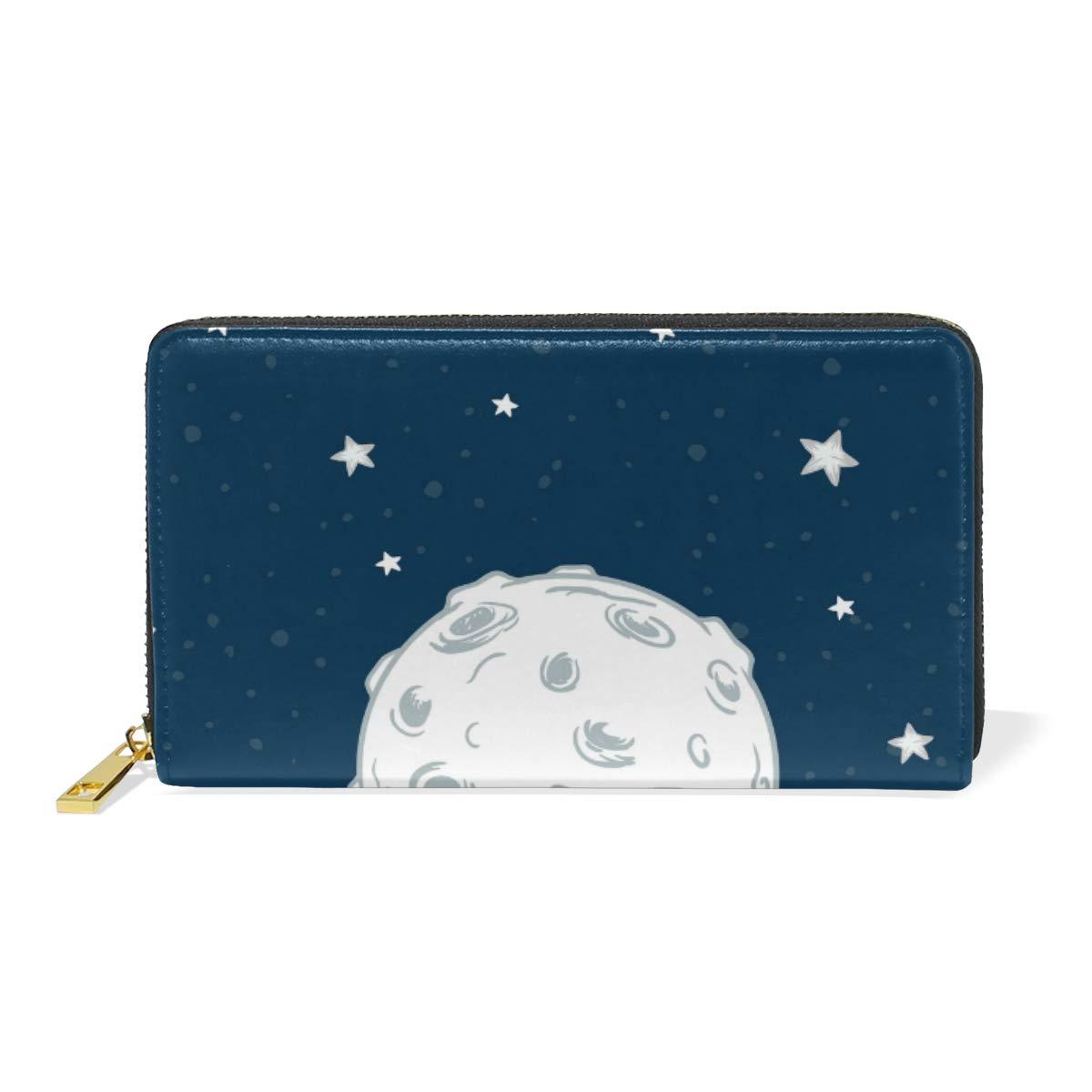 Women Wallet Coin Purse Phone Clutch Pouch Cash Bag Female Girl Card Change Holder Organizer Storage Key Hold Leather Elegant Handbag Party Birthday Gift Moon Stars