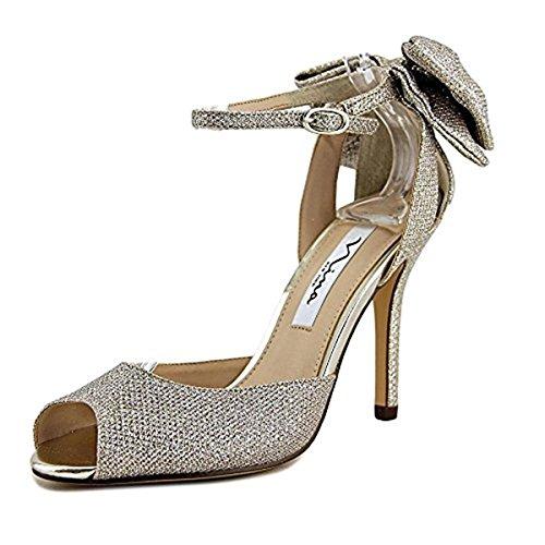 Heels Nina Metallic (Nina Women's Martina Soft Silver Sandal)