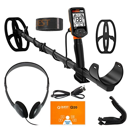 Quest Q20 Metal Detector with 9.5x5 TurboD Waterproof Search Coil (Resistant Salt Metal Water)