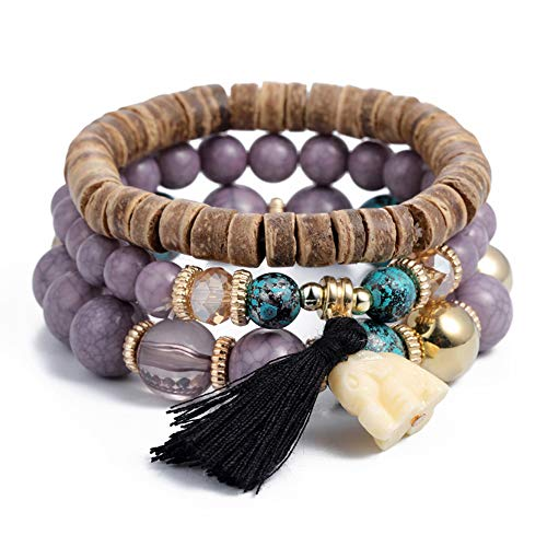 SINOBI 3 Wrap Bracelets for Women Boho Multicolor Stretch Beaded Stackable Bracelets Wood Elephant Charm Bangle