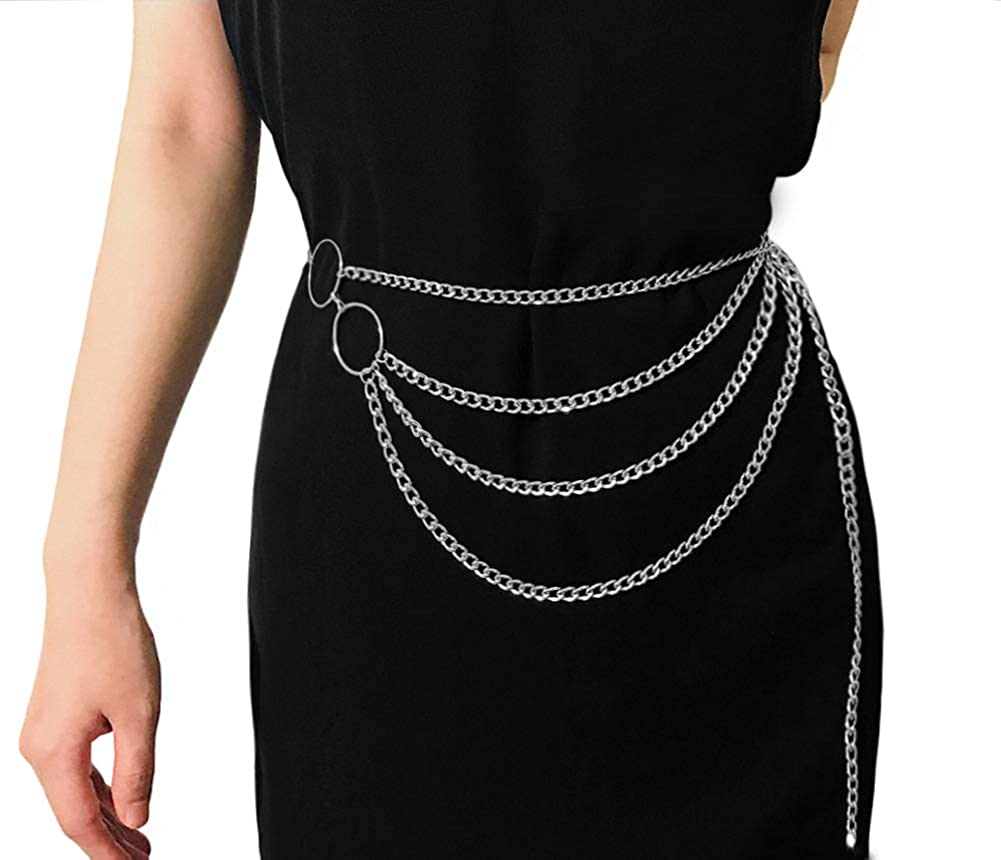 Women Multilayer Metal Link Waist Chain Belt Tassel Belly Bikini Body Jewelry