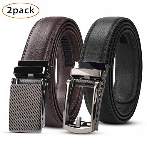 Dress Suit Belt - WERFORU 2 Pack Leather Ratchet Dress Belt for Men Perfect Fit Waist Size Up to 44