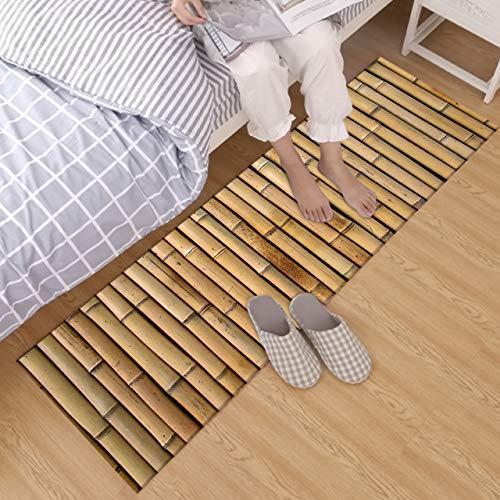 (LB Retro Brown Bamboo Crystal Velvet Area Rug Carpet for Kids Baby Home Living Room Nature SPA Cushion Bedroom Kitchen Door Floor Bath Mats 1'4''Wx4' Non Slip Runner Rug)
