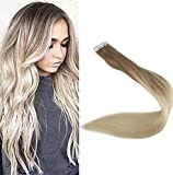 Full Shine 18 Tape in Remy Hair Extentions Real Hair Extensions Ombre Hair Extensions Color #8 Fading to #60 Plautinum Blonde Balayge Human Hair 100g 40 Pcs Per Package