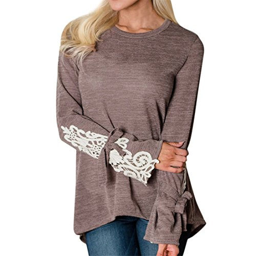 Womens Long Sleeve Tops,YKA Girl Lace Patchwork Bow Irregular T-Shirt Loose Shirt Blouse Pullover for Ladies (Coffee, S)