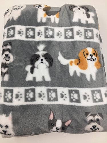 Berkshire Blanket Doggie Drawings Gray Pet Plush Throw Blanket - Various Dogs - Lili Chin Designs