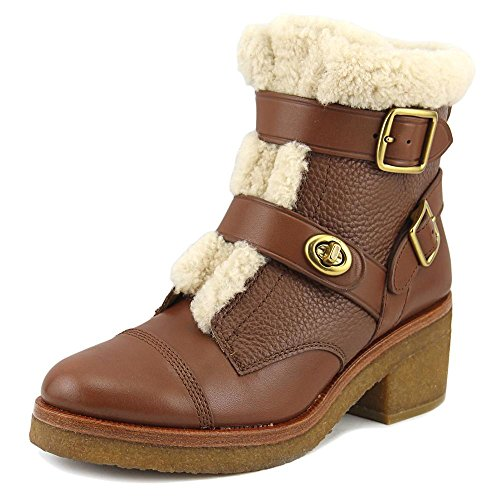 Coach Vegan Natural Ankle Cold Soft Weather Leather Womens Leather Preston Boots Round Shearling Saddle Toe Dark rOxrSTwq
