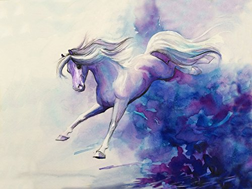 Watercolor Flying Horse painting, Watercolor Horse Giclee Art Print, Blue and White ()