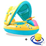PrettyTom Infant Pool Float, Inflatable Safety Baby Floats with Adjustable Sunshade Canopy for 6-36 Months Kids Swimming Floats with Foot Pump
