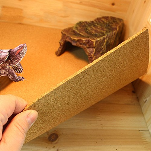Mokook Reptile Cage Carpet for Lizard Turtle Snake Gecko Iguanas Newts Spiders Frog Bearded Dragons, Natural Cork Pad Design, 22x14.1x0.11''(LWH) by Mokook