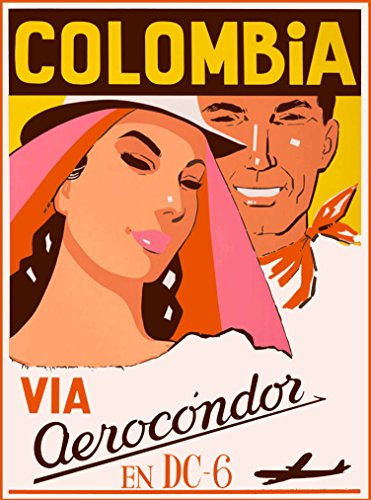 A SLICE IN TIME Colombia Via Aerocondor South America Vintage Airlines Travel Advertisement Art Poster Print. Poster measures 10 x 13.5 inches.